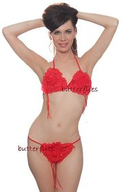 Hot bikini set red rose womens daily fun set 2pc bra  panty new bed