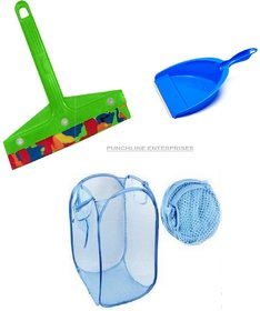 Combo of Foldable Laundry Bag with Mini Dustpan And Mini Kitchen Wiper