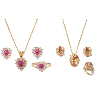 Shining Jewel Golden Delicate Elegant Pendant Necklace With Finger Set Combo Gift Pack 2 (SJNC19)