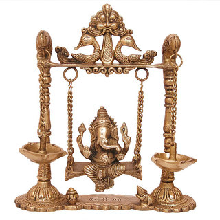 Brass Ganesha Swing with Oil Lamp with Peacock Design
