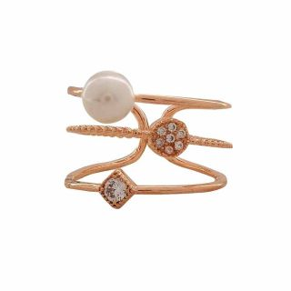 Maayra Graceful White Bronze Pearl College Adjustable Finger Ring