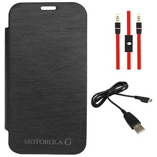 Black Flip Cover Case for Motorola Moto G XT1032 with AUX Cable + Data Cable