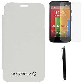 White Flip Cover Case for Motorola Moto G XT1032 with Screen Guard + Stylus