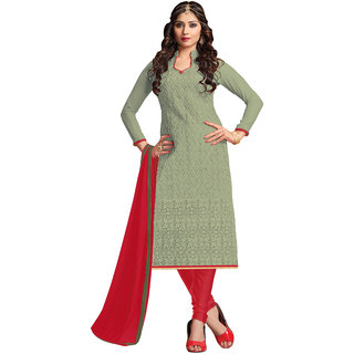 Khoobee Presents Embroidered GPU,Georgette Dress Material (Light Olive,Red) KTBRCNYB1010