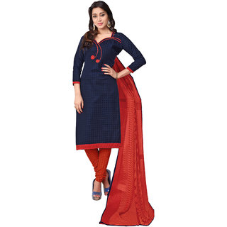 Jiya Presents Embroidered Cotton Dress Material (Navy Blue,Red,Orange) BTBRCPR1013