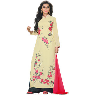 Jiya Presents Embroidered Georgette Dress Material (Beige,Black) BTOTKMY06