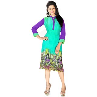 Manvaa Multi color Straight Georgette Printed womens kurti