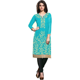 Manvaa Blue color Straight Georgette Embroidered womens kurti