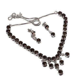 Be You Marvelous Brown smoky Diamond Look Rhodium Plated Sterling Silver Earring  Necklace Set for Women