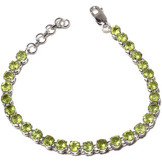 Be You Attractive Green Peridot Real Gemstones Rhodium Plated Sterling Silver Bracelet for Women