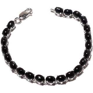 Be You Lovely Black Onyx Real Gemstones Rhodium Plated Sterling Silver Bracelet for Women