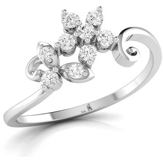 Vijisan Designer Collection 0.34Ct.CZ Stone Rhodium Plated Flower Designer Ring in 925 Sterling Silver for Women
