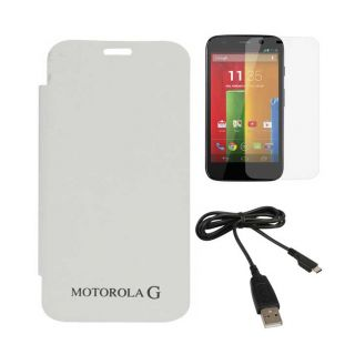 White Flip Cover Case for Motorola Moto G XT1032 with Screen Guard + Data Cable