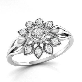 Vijisan Designer Collection 0.26Ct.CZ Stone Rhodium Plated Flower Designer Ring in 925 Sterling Silver for Women