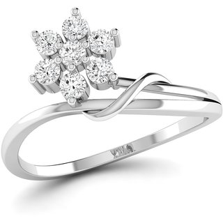 Vijisan Designer Collection 0.48Ct.CZ Stone Rhodium Plated Promise Designer  Ring in 925 Sterling Silver for Women