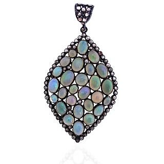 Be You Stylish Fire Opal with Rose Cut Diamond Real Gemstones Black Rhodium Plated Sterling Silver Pendant for Women