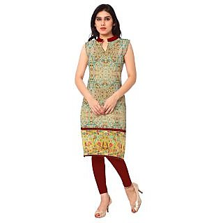 AHALYAA Multi Colored Sleeveless And Round Neck Faux Crepe Kurti