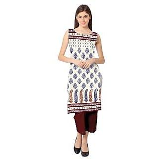 AHALYAA White Printed Crepe Stitched Kurti