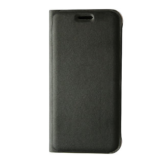 AROMA FULL LEATHER FLIP COVER FOR MICROMAX Q323 (BLACK)