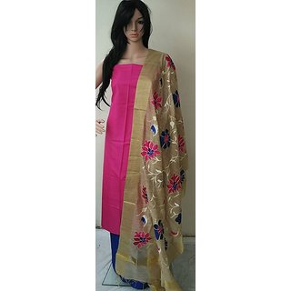 Silk pink top with floral designed duppatta