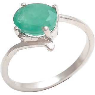 Be You Contemporary Green Emerald Real Gemstones Rhodium Plated Sterling Silver Ring for Women