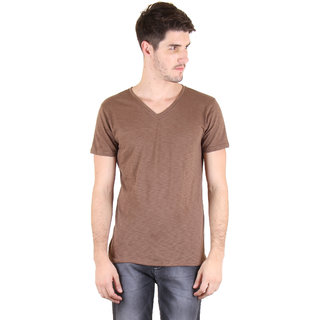 Incynk Solid V Neck Men BROWN Solid Raglan Sleeve Tshirt