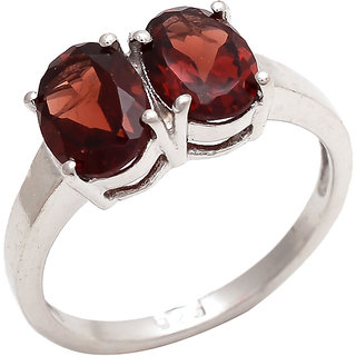 Be You Pretty Red Garnet Real Gemstones Rhodium Plated Sterling Silver Ring for Women