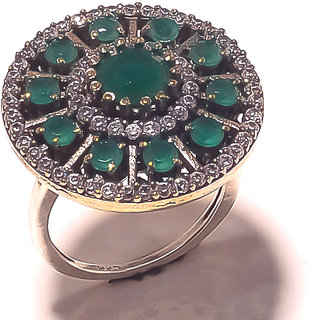 Be You Marvelous Green Onyx Rhodium Plated Brass  Silver Turkish Ring for Women
