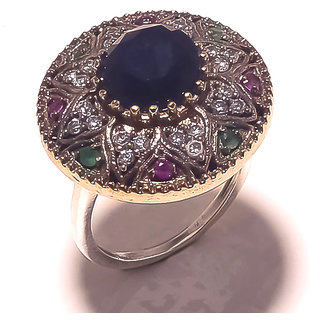 Be You Marvelous Multicolor Glass Rhodium Plated Brass  Silver Turkish Ring for Women