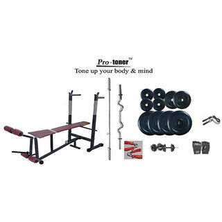 PROTONER WEIGHT LIFTING PACKAGE 90 KGS + 6 IN 1 BENCH + H.GRIP + GLOVES+ROPE