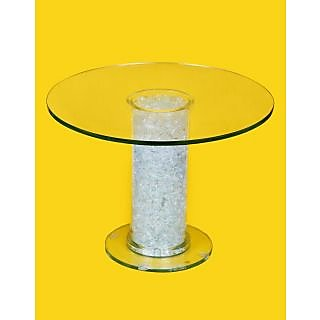 DBORO 100 Glass Center Table 1.5 ft Round Straight Tube Pattern 12 mm Toughened Glass