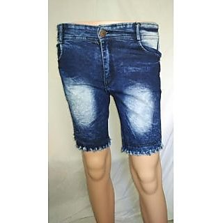 Girls Denim Blue Short Knee Length Capri