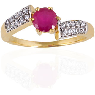 Be You Pretty Red Colour Solitaire Diamond Look Rhodium Plated Brass Ring for Women