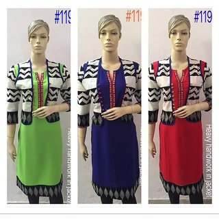 Stylish attractive casual wear Rayon Kurta with cotton jacket to party