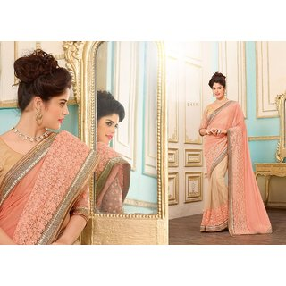 Tamanna Peach & Cream Lycra Embroidered Saree With Blouse