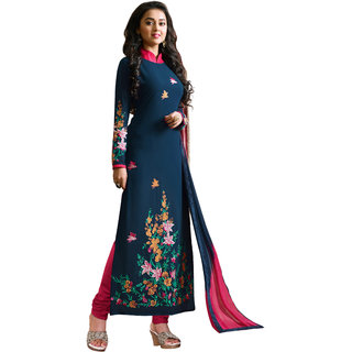 Khushali Presents Embroidered Georgette Dress Material (Navy Blue,Pink) OTKMY01P