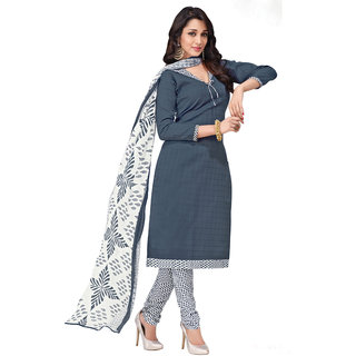 Khushali Presents Embroidered Cotton Dress Material (Dark Grey,White) BRCPR1004