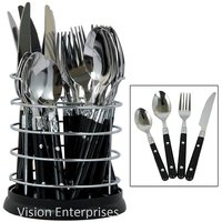 Stylish 24 Pcs Stainless Steel Cutlery Set With Steel Stand (White Color)