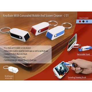 Keychain with concealed mobile stand and screen cleaner