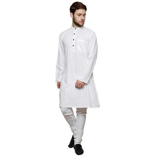Dhrohar Khadi White Long Kurta for Men