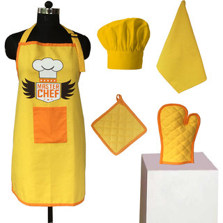 Lushomes Head Chef Yellow Special Chef Apron Set (5 pcs)