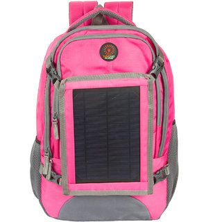 Sunlast L002 Pink Laptop Backpack With Solar Mobile Charger