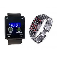 Metal Led Watch Combo For Men With Blue And Red Led By Dil2deal