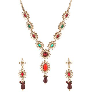 Asian Pearls  Jewels Designer Floral Necklace Set