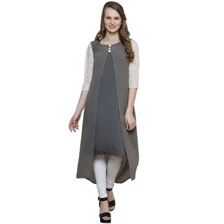 Ritzzy Grey Georgette  and Summer Crepe Kurta