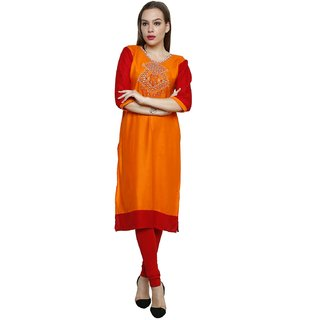 Ritzzy Orange Embroided  Kurta