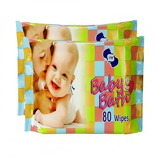 OM Baby bath WIPES -2 PACKS (80 PCS.EACH) 160 PCs