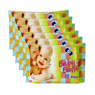OM Baby bath WIPES -6 PACKS (80 PCS.EACH) 480 PCs