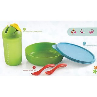 Tupperware Twinkle Tup Feeding Bowl, Straw Tumbler and Cutlery Set