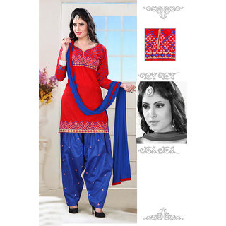 Aaina Red Cotton Embroidered Dress Material (SB-3205)